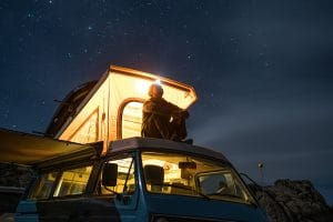 Sfeerbeeld van stroomverbruik in een caravan